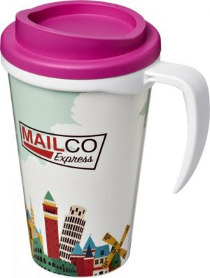 350ml Insulated Tumbler with Pink Lid