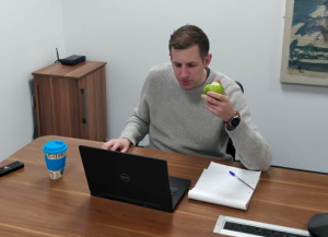 Peter The cup man eating fruit from eatfruit.co.uk
