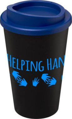 Black Insulated Tumbler with Blue Lid