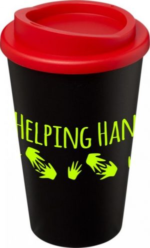 Black Insulated Tumbler with Red Lid