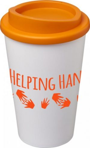 White Insulated Tumbler with Orange Lid