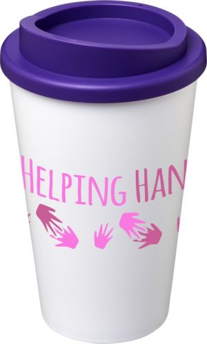 White Insulated Tumbler with Purple Lid