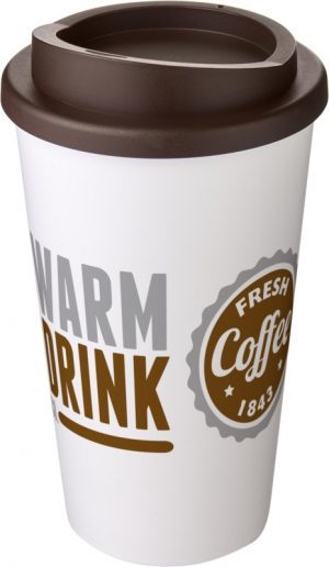 White Insulated Tumbler with Brown Lid