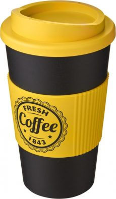 Black Insulated Tumbler with Yellow Grip