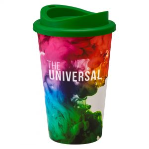 Full Colour Universal Cup with Green Lid