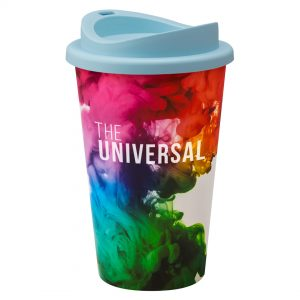 Full Colour Universal Cup with Light Blue Lid