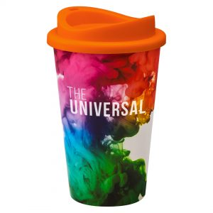 Full Colour Universal Cup with Orange Lid