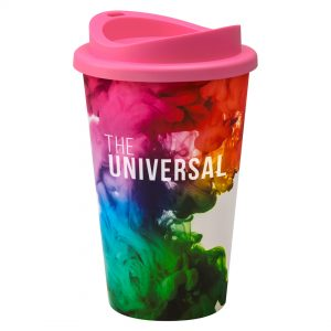 Full Colour Universal Cup with Pink Lid