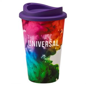 Full Colour Universal Cup with Purple Lid
