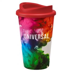 Full Colour Universal Cup with Red Lid