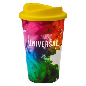 Full Colour Universal Cup with Yellow Lid