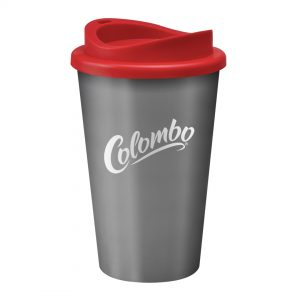 Grey Universal Cup with Red Lid
